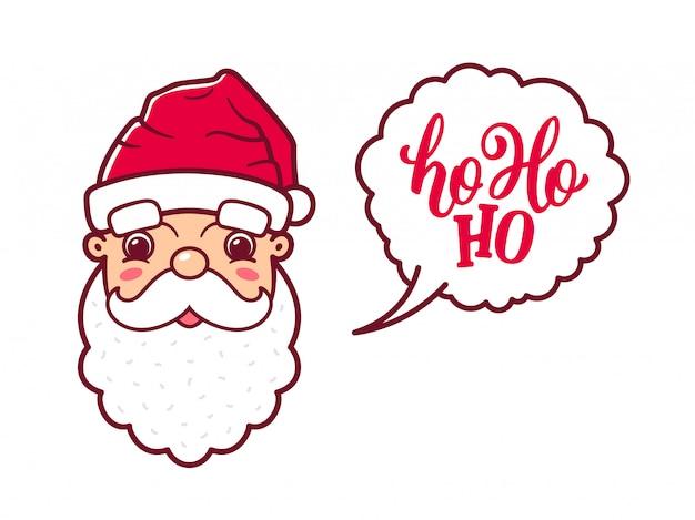 Babbo Natale Ho Ho Ho.La Faccia Carina Di Babbo Natale Dice Ho Ho Ho Scaricare Vettori