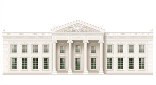 La facciata classica di un edificio pubblico Vettore Premium