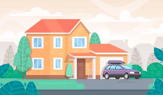 La facciata della casa è con un garage e una macchina. cottage Vettore Premium