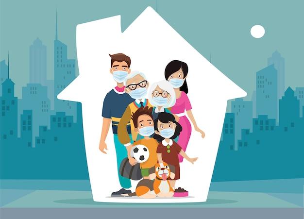 La famiglia protegge i propri figli, resta a casa durante l'epidemia. famiglia stare a casa in auto quarantena. Vettore Premium
