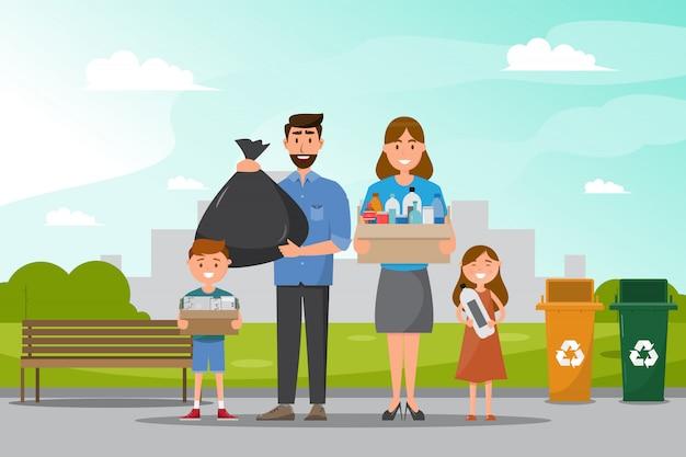 La famiglia pulisce e raccoglie la spazzatura al parco. Vettore Premium