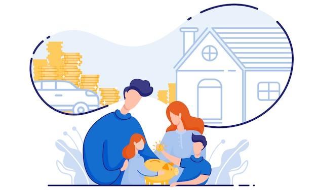 La famiglia risparmia denaro acquista casa e auto. Vettore Premium