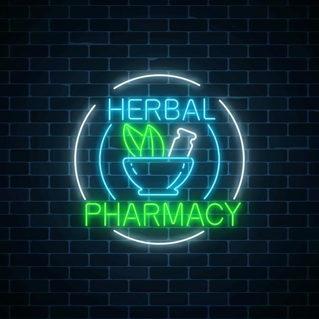 La farmacia di erbe al neon firma dentro le strutture del cerchio sul fondo scuro del muro di mattoni. negozio di medicinali naturali al 100%. Vettore Premium