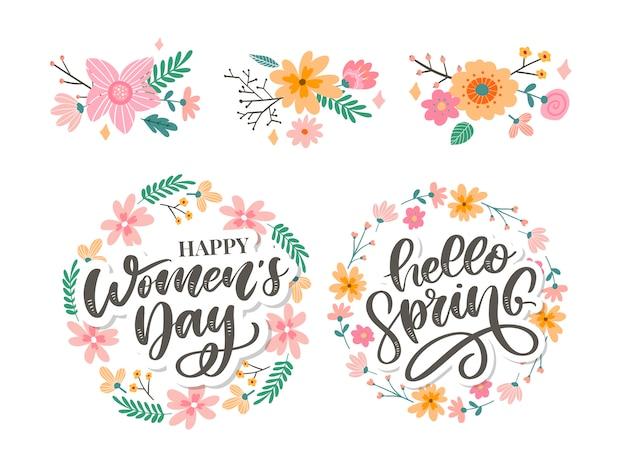 La festa della donna e ciao primavera progettano il testo con i fiori Vettore Premium