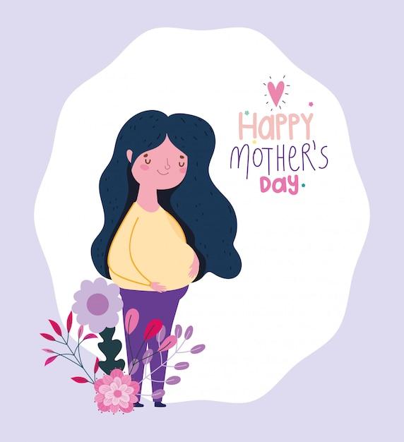 La festa della mamma felice, donna incinta fiorisce il fumetto Vettore Premium