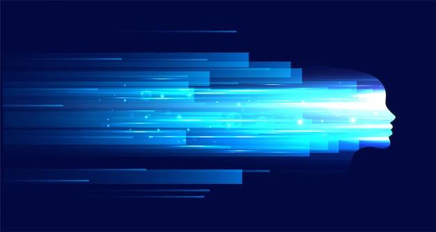 La figura del volto della tecnologia con strisce di luce blu Vettore gratuito