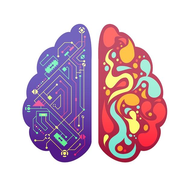 La figura variopinta simbolica pittorica dei emisferi cerebrali di sinistra e di destra del cervello umano con il diagramma di flusso e le zone di attività vector l'illustrazione Vettore gratuito