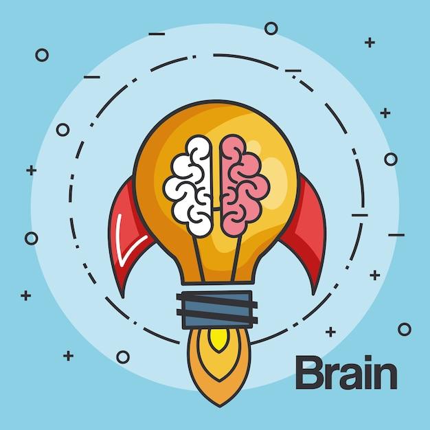 La forma della lampadina del razzo e l'affare del cervello iniziano sull'illustrazione di vettore di concetto Vettore Premium