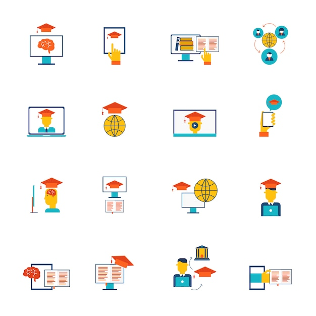 La formazione online di e-learning di formazione di distanza e l'insieme piano delle icone di graduazione hanno isolato l'illustrazione di vettore Vettore gratuito