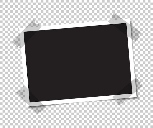 La foto vuota con un'ombra è incollata con del nastro. Vettore Premium