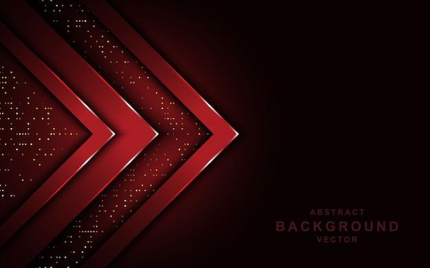 La freccia rossa si sovrappone a strati su sfondo scuro con glitter. Vettore Premium