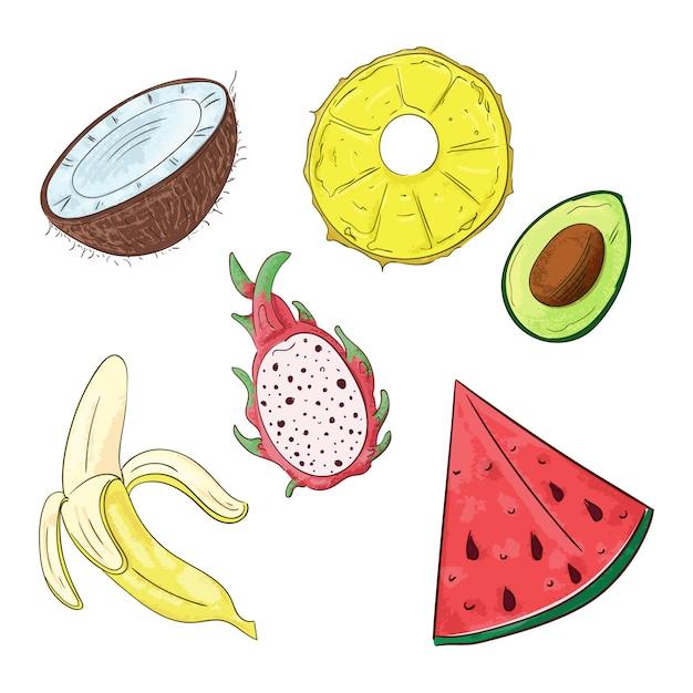 La frutta tropicale dolce ha tagliato a pezzi la linea arte. Vettore Premium
