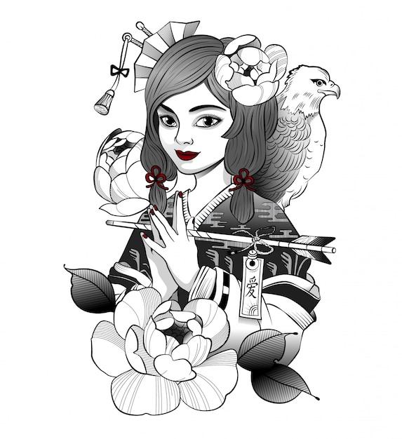 La geisha giapponese sorridente ha ricevuto un messaggio Vettore Premium