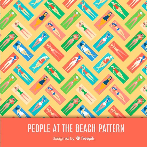 La gente al modello di spiaggia Vettore gratuito