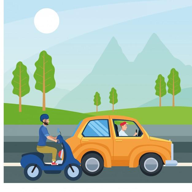 La gente alla guida di auto e moto disegno vettoriale Vettore Premium