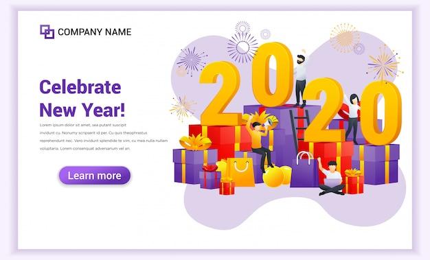 La gente celebra il nuovo anno su grandi confezioni regalo e grande bandiera numero 2020 simbolo Vettore Premium