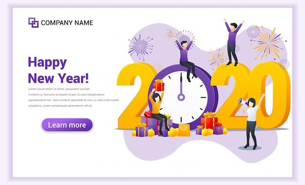 La gente celebra il nuovo anno vicino al grande orologio e alla grande pagina di destinazione dei numeri simbolo 2020 Vettore Premium