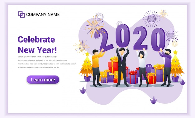 La gente celebra il nuovo anno vicino tenendo la pagina di destinazione numeri simbolo 2020 Vettore Premium