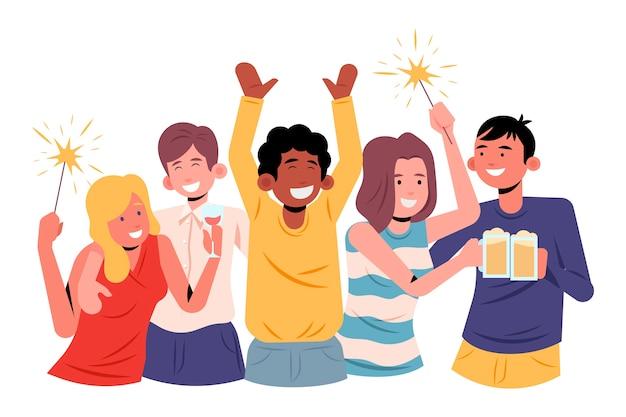 La gente celebra insieme il concetto Vettore gratuito