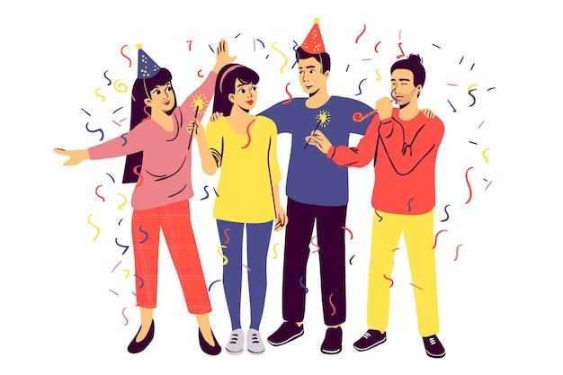 La gente celebra insieme illustrata Vettore gratuito