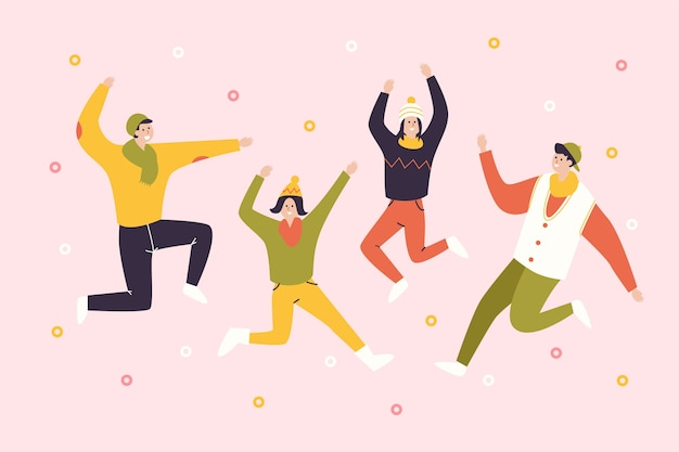 La gente che balla sfondo stagione invernale Vettore gratuito