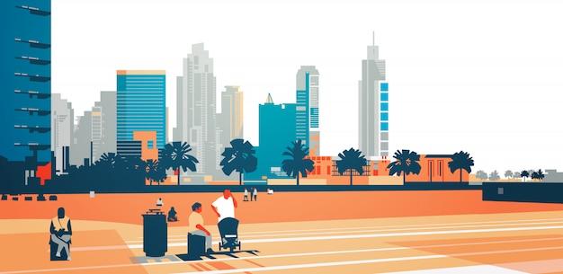 La gente che cammina rilassarsi concetto su grattacielo edifici moderni paesaggio urbano Vettore Premium