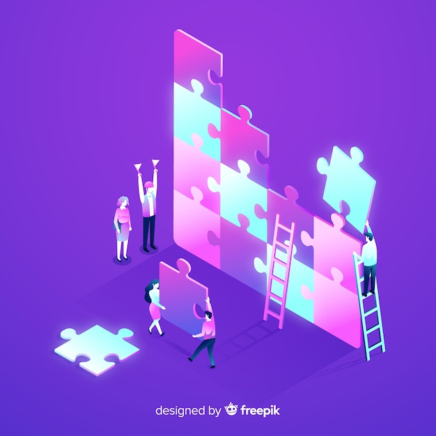 La gente che collega il puzzle collega la priorità bassa isometrica Vettore gratuito