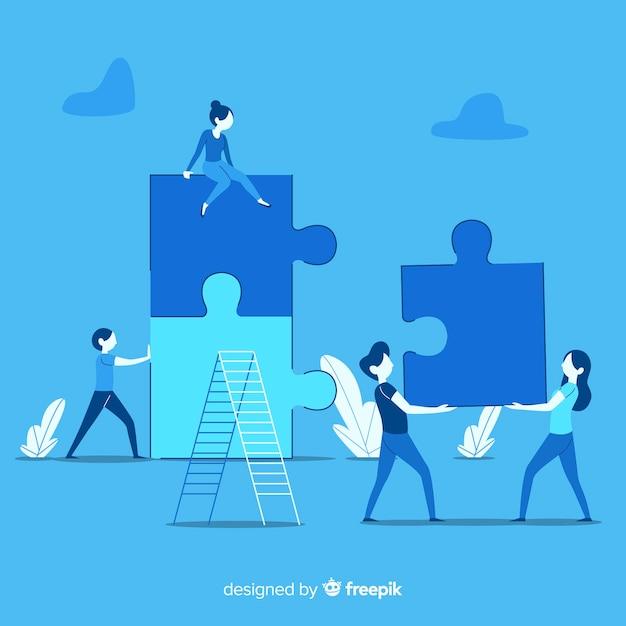 La gente che collega il puzzle collega la priorità bassa Vettore gratuito