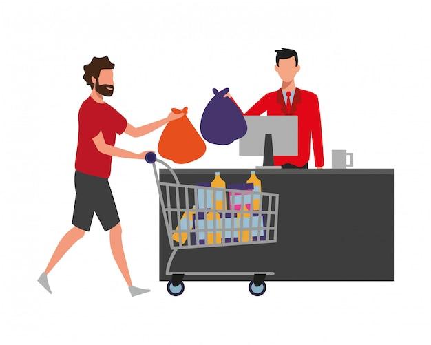 La gente che compera al supermercato Vettore Premium