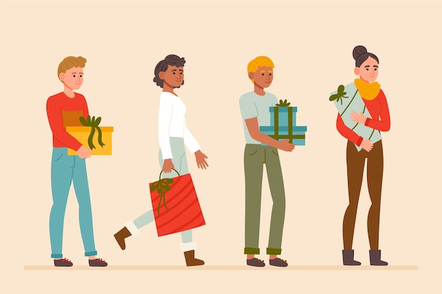 La gente che compra il pacchetto di regali di natale Vettore gratuito