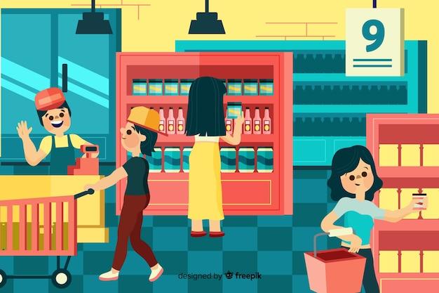 La gente che compra nel supermercato, illustrazione con caratteri Vettore gratuito
