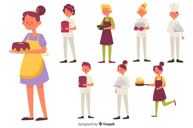 La gente che cucina collezione Vettore gratuito