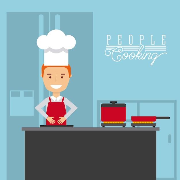 la gente che cucina progettazione, grafico dell'illustrazione eps10