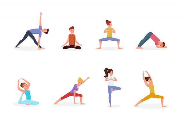 La gente che fa l'insieme dell'illustrazione di yoga Vettore Premium