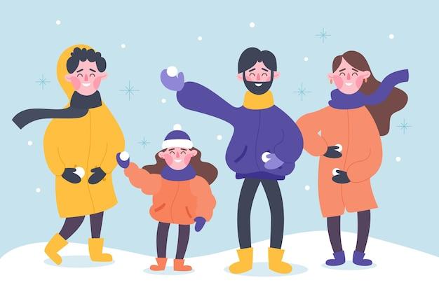 La gente che indossa abiti invernali illustrazione Vettore gratuito