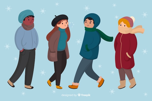 La gente che indossa abiti invernali su uno sfondo di giorno nevoso Vettore gratuito