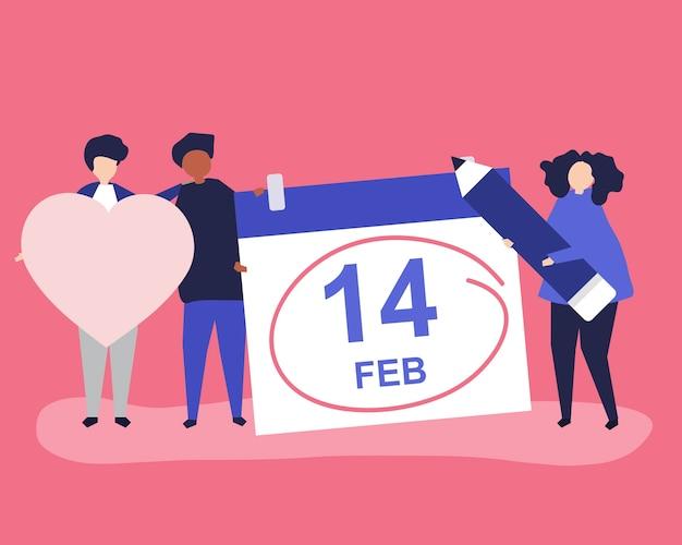 La gente che tiene il concetto di san valentino Vettore gratuito