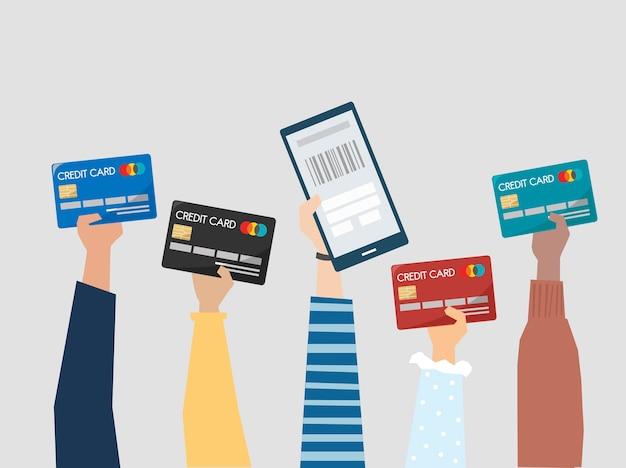 La gente che tiene l'illustrazione delle carte di credito Vettore gratuito