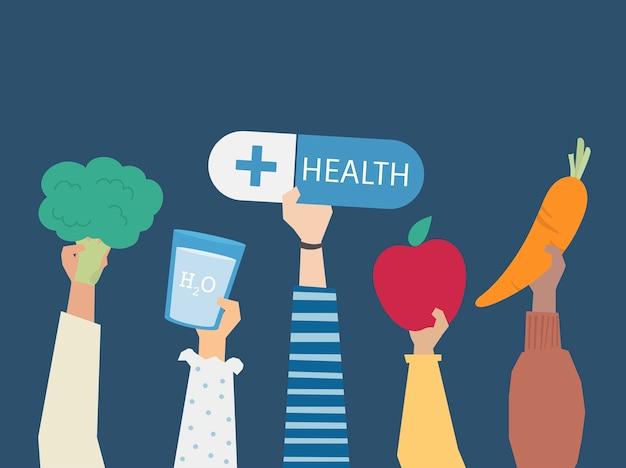 La gente che tiene l'illustrazione di simboli di salute Vettore gratuito