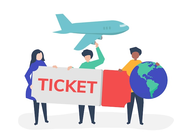 La gente che tiene le icone relative di un viaggio del biglietto di volo Vettore gratuito