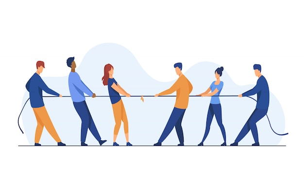 La gente che tira le estremità opposte dell'illustrazione piana della corda Vettore gratuito