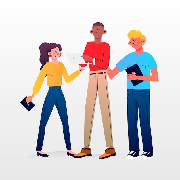 La gente con il pacchetto dell'illustrazione dei dispositivi di tecnologia Vettore gratuito