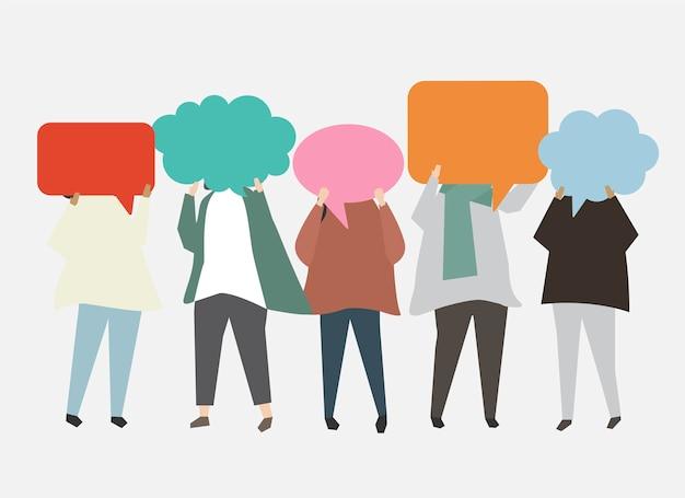 La gente con l'illustrazione delle bolle di discorso Vettore gratuito
