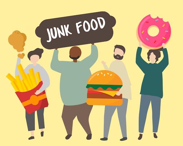 La gente con l'illustrazione grassa degli alimenti industriali Vettore gratuito