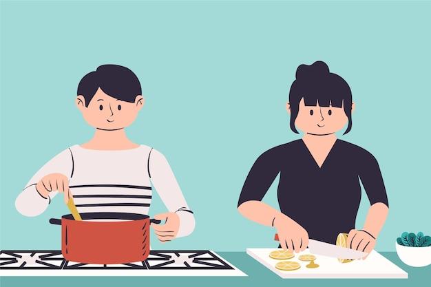 La gente cucina illustrazione Vettore gratuito