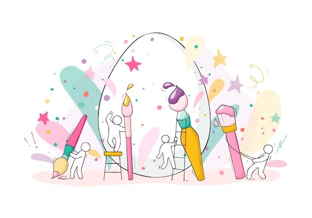 La gente del fumetto che dipinge le uova di pasqua Vettore Premium