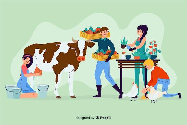 La gente dell'azienda agricola che lavora insieme ha illustrato Vettore gratuito