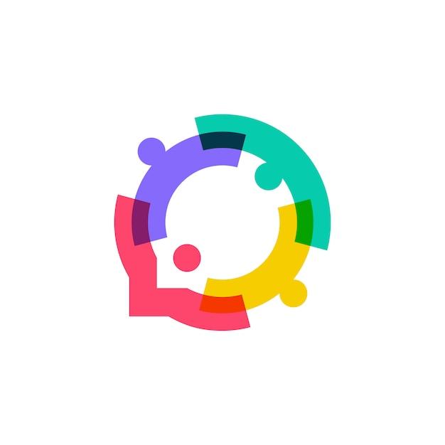 La gente della famiglia insieme logo della bolla di chiacchierata di unità umana Vettore Premium