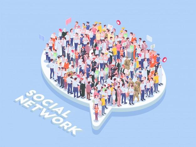 La gente della società isometrica con l'icona della bolla di pensiero e del testo con i lotti di caratteri umani realistici vector l'illustrazione Vettore gratuito