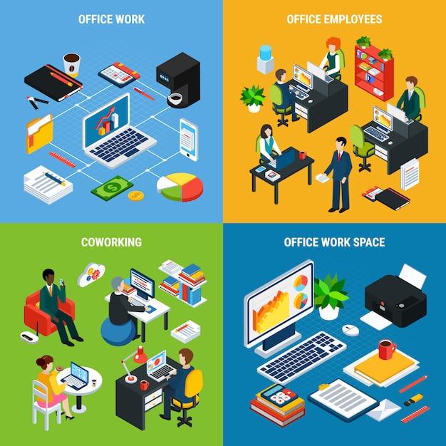 La gente di affari il concetto di progetto isometrico con le immagini degli elementi essenziali dell'area di lavoro delle forniture di ufficio e dei caratteri umani vector l'illustrazione Vettore gratuito